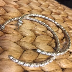 Jewelry - Thick Etched Sterling Silver Hoops 2.25""